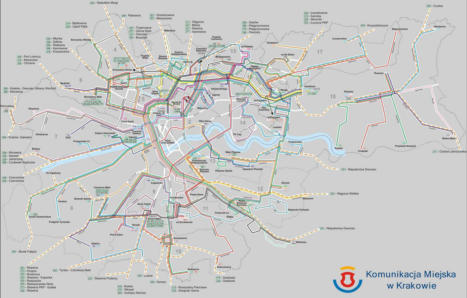 Maps Of Public Transport In Krakow Bus Lines Tram Lines