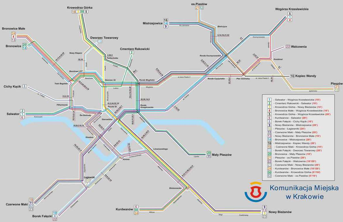 Maps Of Public Transport In Krakow Bus Lines Tram Lines